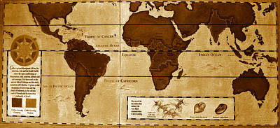 Global Photograph - World Map Of Coffee by David Lee Thompson