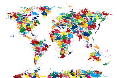 Colourfull Digital Art - World Map Paint Drops by Michael Tompsett