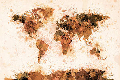 Map Of The World Digital Art - World Map Paint Splashes Bronze by Michael Tompsett