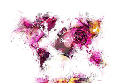 Map Of The World Digital Art - World Map Roses by Justyna JBJart