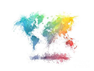 World Map Splash 2 Print by Justyna JBJart