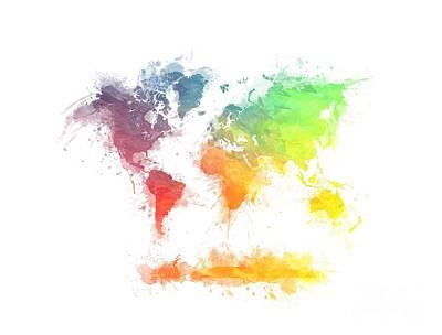 Africa Digital Art - World Map Splash  4 by Justyna JBJart