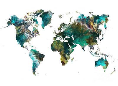 World Map Tree Art Print by Justyna JBJart