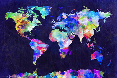 World Map Urban Watercolor Print by Michael Tompsett