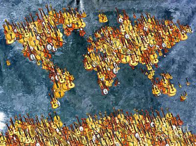 Violin Mixed Media - World Music by Daniel Janda
