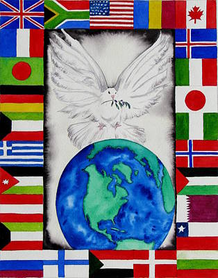 Globe Painting - World Peace by Maria Barry
