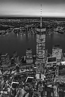 World Trade Center Wtc From High Above Bw Print by Susan Candelario