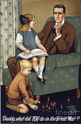 World War 1 Propaganda Poster Daddy What Did You Do In The Great War? Print by R Muirhead Art