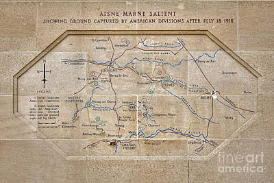 Chateau Photograph - World War I Marne Battle Map  by Olivier Le Queinec