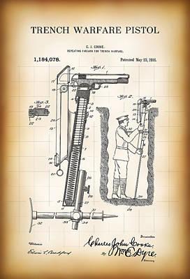 World War One Trench Warfare Pistol 1916 Print by Daniel Hagerman