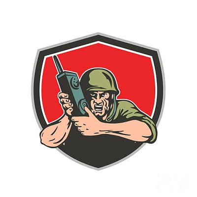 Soldier Field Digital Art - World War Two American Soldier Field Radio Shield by Aloysius Patrimonio