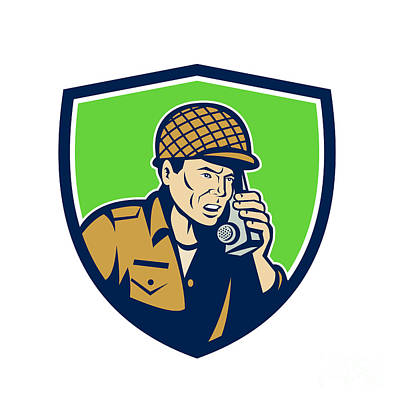 Soldier Field Digital Art - World War Two American Soldier Talk Radio Shield by Aloysius Patrimonio