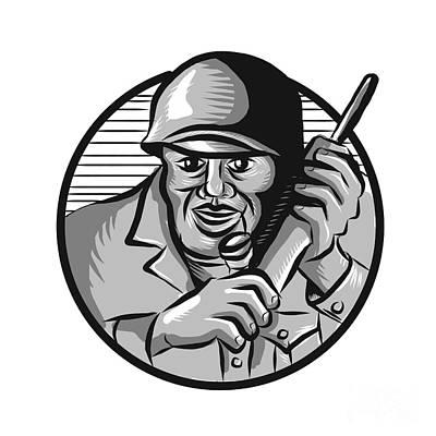Soldier Field Digital Art - World War Two Soldier American Calling Radio Circle Etching by Aloysius Patrimonio