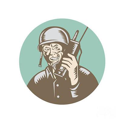 Soldier Field Digital Art - World War Two Soldier American Talk Radio Circle by Aloysius Patrimonio