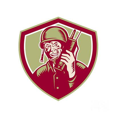 Soldier Field Digital Art - World War Two Soldier American Talk Radio Crest by Aloysius Patrimonio