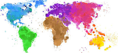 Worldmap Ink Paint 6 Colors Print by HQ Photo