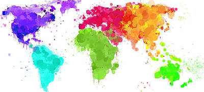Worldmap Ink Paint 6 Colors V2 Print by HQ Photo