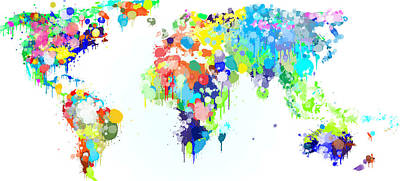 Worldmap Ink Paint Print by HQ Photo