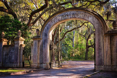 Georgia Plantation Photograph - Wormsloe Plantation Gate by Joan Carroll
