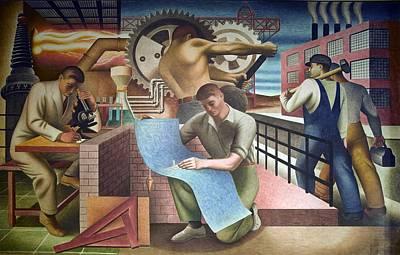 Realism Photograph - Wpa Mural. Mural By Charles Klauder Ca by Everett