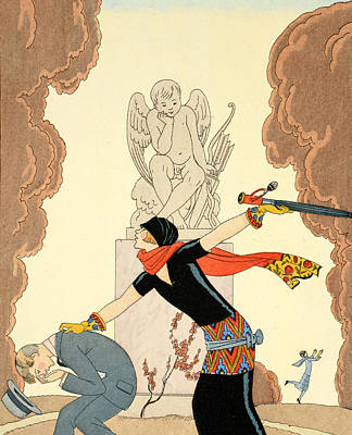Beaux Arts Painting - Wrath by Georges Barbier