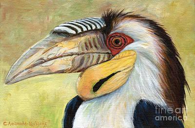 Hornbill Painting - Wreathed Hornbill  by Svetlana Ledneva-Schukina