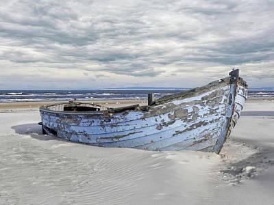 Wreck Of A Barge On A Baltic Beach Print by Joachim G Pinkawa