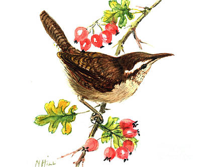 Wren And Rosehips Print by Nell Hill