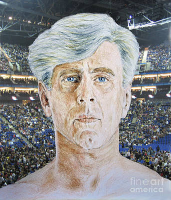 Wrestling Drawing - Wrestling Legend Ric Flair by Jim Fitzpatrick