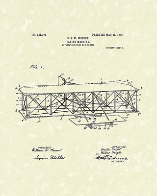 Wire Drawing - Wright  Brothers Flying Machine 1906 Patent Art by Prior Art Design