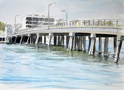 Watercolor Painting - Wrightsville Beach Bridge by Christopher Reid