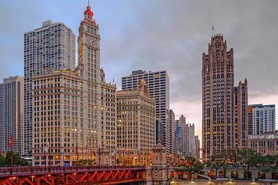 Wrigley And Chicago Tribune Buildings - Michigan Avenue Dusable Bridge Chicago Illinois Print by Silvio Ligutti