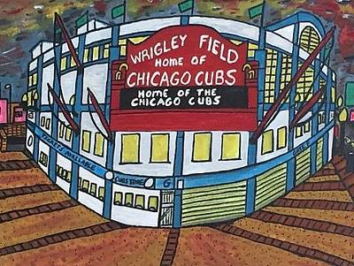 Wrigley Field Drawing - Wrigley Field Home Of Chicago Cubs. by Jonathon Hansen