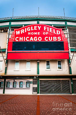 Chicago Cubs Stadium Print featuring the photograph Wrigley Field Sign Photo by Paul Velgos