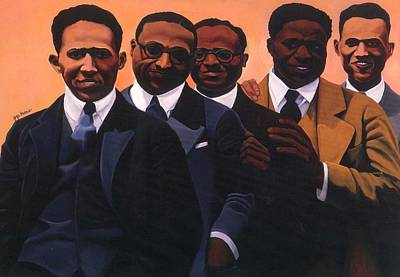 African-american Painting - Writers On The Roof by Joyce Owens