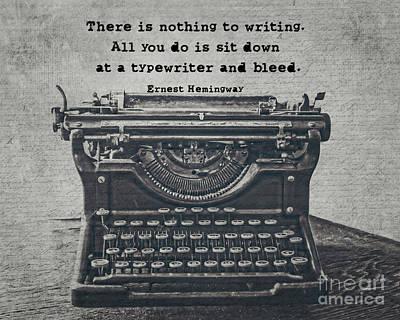Typewriter Photograph - Writing According To Hemingway by Emily Kay