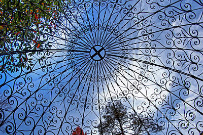 Grate Photograph - Wrought Iron Gazebo Ceiling by Tom Gari Gallery-Three-Photography