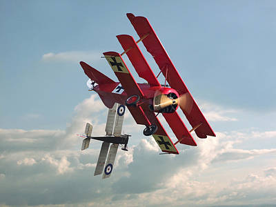Fokker Photograph - Ww1 - Combat - One On One by Pat Speirs