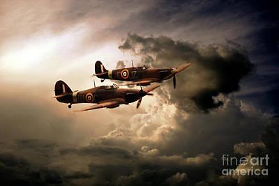 Spitfire Digital Art - Ww2 Front Line Fighters by J Biggadike