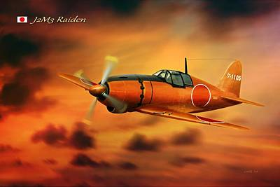 Will Power Digital Art - Ww2 Imperial Japanese Fighter J2m3 Raiden by John Wills