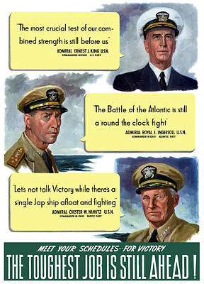 Ww2 Us Navy Admirals Print by War Is Hell Store