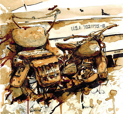 Memorial Day Drawing - Wwii Motorcycle Normandy - Coffee Watercolor by Jonathan Patterson
