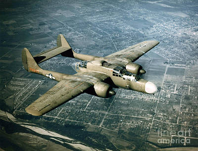All-metal Photograph - Wwii, Northrop P-61 Black Widow, 1940s by Science Source