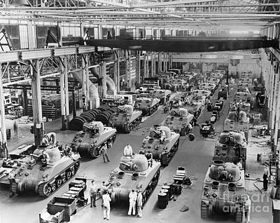 Building Factory Work Vintage Photograph - Wwii Tanks In Production, C.1940s by H. Armstrong Roberts/ClassicStock