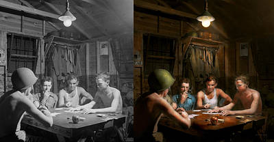 Beaters Photograph - Wwii - The Card Game 1943 - Side By Side by Mike Savad
