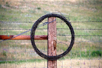 Pasture Scenes Mixed Media - Wyoming Barb Wire On The Ranch by Thomas Woolworth