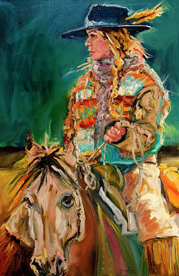 Painting - Wyoming Cowgirl by Diane Whitehead