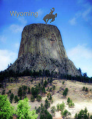 Wyoming Devils Tower With Cowboy And Climbers Print by Thomas Woolworth