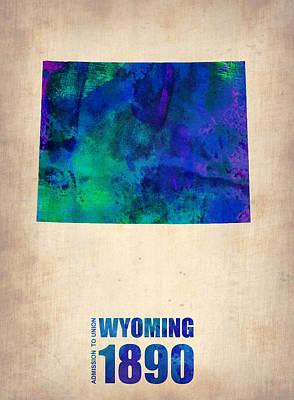 World Map Poster Digital Art - Wyoming Watercolor Map by Naxart Studio