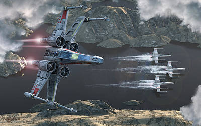 X-wing Along The River Print by Kurt Miller